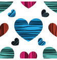 blue red and pink hearts vector image