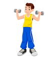 Boy With Dumbbells vector image vector image