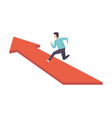 businessman running to his goal along red arrow vector image vector image