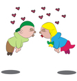 Cartoon love scene vector image vector image