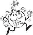 Cartoon worried bomb running vector image