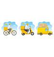delivery service designs set vector image vector image