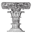 finial foliated shaft monument vintage engraving vector image vector image