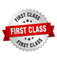first class 3d silver badge with red ribbon vector image vector image