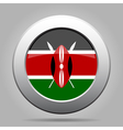 Flag of Kenya Shiny metal gray round button vector image