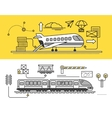 Freight Forwarding by Air and Rail Train vector image vector image