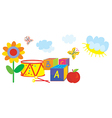 Funny banner for kids and kindergarten with toys vector image vector image