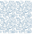 hand drawn seashell seamless pattern in blue vector image