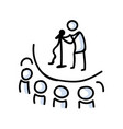 hand drawn stick figure comedy performer on stage vector image vector image
