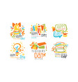 happy teachers day labels and badges original vector image vector image