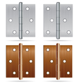 Hinges Design Stainless steel hinges and bronze vector image vector image