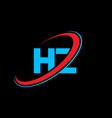 hz h z letter logo design initial letter hz vector image vector image