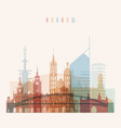 krakow skyline detailed silhouette transparent vector image vector image