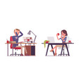 male and female office secretary at the desk vector image vector image