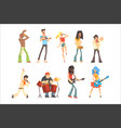 musicians and singers of different music styles vector image vector image