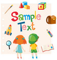 paper design with school material and kids vector image