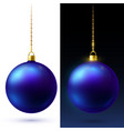 realistic blue matte christmas balls hanging on vector image vector image