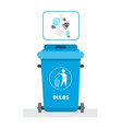 rubbish container for light bulbs waste icon vector image vector image