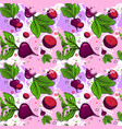 seamless pattern red beets root vegetables vector image