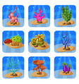 set of colorful corals and algae on a blue vector image vector image