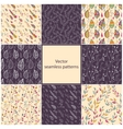 Set of eight seamless Floral patterns vector image vector image