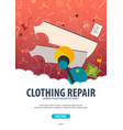 tailor and seamstress banner sewing kit vector image