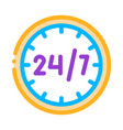 twenty-four-seven service thin line icon vector image