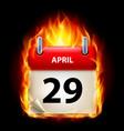 Twenty-ninth april in calendar burning icon on