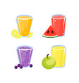various fresh fruit detox juices set glasses of vector image vector image
