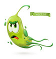 virus bacteria green funny monster cartoon vector image vector image