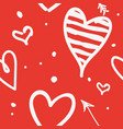 white draw heart on red background use how vector image vector image