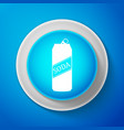 white soda can icon isolated on blue background vector image