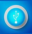 white usb symbol icon isolated on blue background vector image