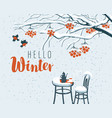 winter street cafe under rowan tree with lettering vector image vector image