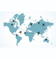 world map with flying airplanes travel concept vector image vector image