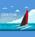 yacht club banner design with sport trimaran vector image vector image