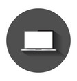 laptop with white screen flat icon computer vector image