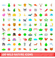 100 wild nature icons set cartoon style vector image vector image