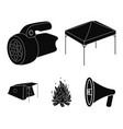 awning fire and other tourist equipmenttent set vector image vector image
