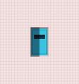 Blue door on pink wall vector image vector image
