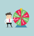 businessman and result of wheel of fortune vector image vector image