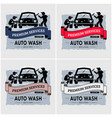 car wash logo design artwork of workers washing vector image