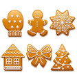 christmas gingerbread icons vector image vector image