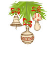 christmas tree and ornaments retro vector image vector image