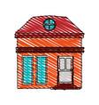 color crayon stripe cartoon facade small house vector image vector image