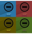 Color set minus Flat modern web button with long vector image vector image