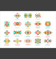 colorful geometric ornament set abstract logo vector image vector image