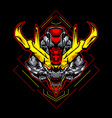 cool devil demon skull futur robot head vector image vector image
