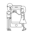 couple with smartphone black and white vector image