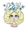 cute blonde curly girl with blue butterflies vector image vector image